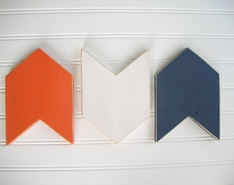 Chevron Arrows . Arrow Wall Decor . Arrow Set .  NavyOrange White Arrows  . Modern Nursery . Tribal Nursery . 5 x 7 . Boho Baby