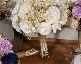 Sola Bouquet, Bride Bouquet, Ivory Bouquet, Wedding  Bouquet, Bouquet, Sola flower bouquet, Wood Bouquet, rustic bride bouquet