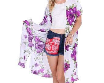 Purple White Floral Kimono, Boho Kimono, Womens Kimono Beach Cover Up, Kimono Cardigan, Kimono, Shrugs, Boho Top, Festival, Tribal Kimono