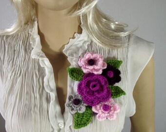 CROCHET PATTERN Flowers Pin Bouquet Flower Brooch Pin pdf pattern Instant Download Crochet Flower Pattern