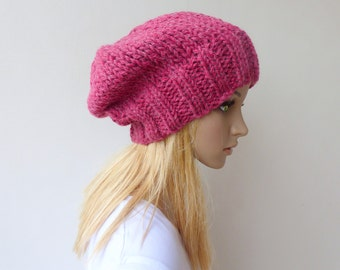 Pink Slouchy beanie Womens pink knit hat Chunky Knit slouch hat in wool alpaca winter hat