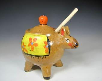 Honey Pot -pottery Honey Jar -Honey Dispenser -Jar Honey -Ceramic Honey Jar - Donkey -HoneyPot - yellow Honey Pot -InStock