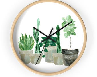 Plant Wall Clock, indoor jungle, plants, plant lover gift, cactus wall clock, snake plant, fiddle leaf fig, modern wall clock, minimal clock