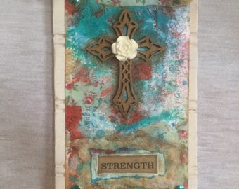 Strength Mixed Media Cross Art Plaque