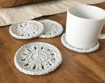 Coasters. Crochet Cotton Coasters. Crochet Coasters. Home Accessories. Hostess Gift. Cotton Coasters. Gift Under 20.