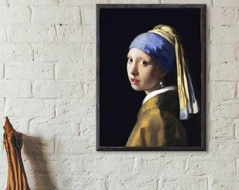 Girl with a Pearl Earring (1665) by Johannes Vermeer, fine art print, wall print, vinatage print