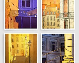 Any FOUR Prints - Save 30%,Set of four Illustrations,Paris Art Prints Poster Home decor Wall art Mixed media illustration Paris Architecture