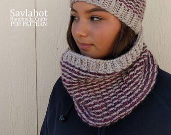 cowl knitting pattern - cowl pattern - cowl beanie pattern - pom pom beanie - pdf cowl pattern - chunky knit cowl pattern no. C001