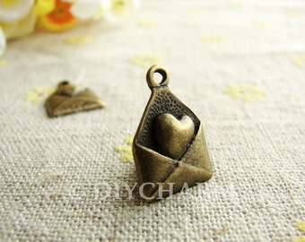 Antique Bronze Made With Love Heart Mail Charms 12x18mm - 10Pcs - DC23888