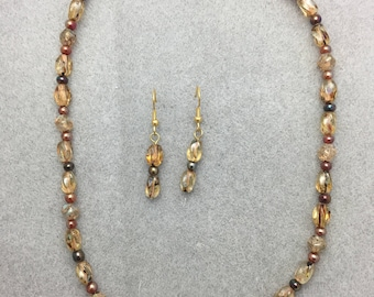 Clear Glass Swirl Beaded Necklace and Earring Set