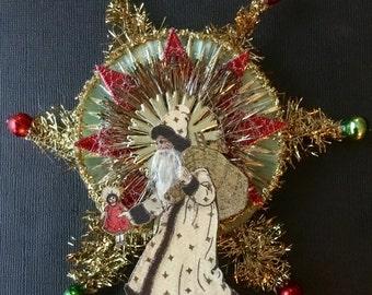 Vintage Look Santa Christmas Ornament Victorian-Copy of 1914 Post Card Santa,Spun Glass,Vtg Tinsel,German Dresdens,Vintage Glass Beads