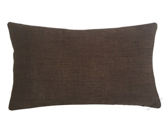 Brown Cosmo Linen Decorative Throw Pillow Cover / Pillow Case / Cushion Cover / 12x20""