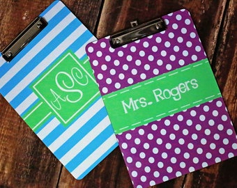 Personalized Clipboard with Dry Erase Surface - 2 Sided Design - Monogram Teacher Gift, Coach Gift Clip Board - Design Your Own