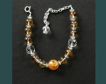 Citrine and Clear Quartz Bead Bracelet (adjustable) with Golden Dragon Bead