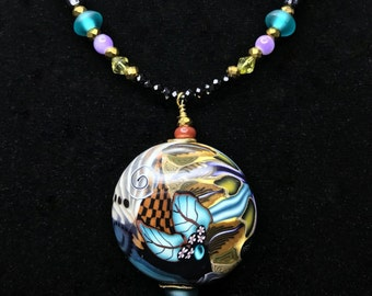 """KLEW """"Jungle Design"""" POLYMER BEAD Necklace (Handcrafted)"""