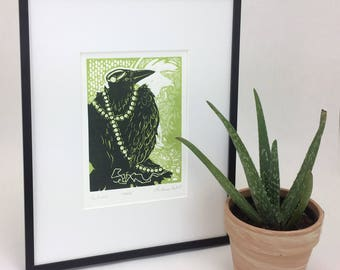 Envy-Crow infront of a Mirror - Jewelry - Crow Art - Wall Art - Raven-Blackbird - Linoleum print-Linocut-Blockprint-Woodblock