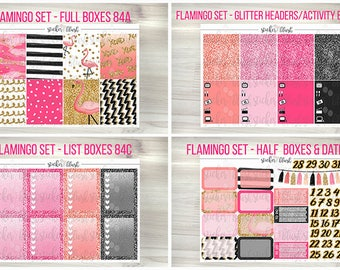 Flamingo kit planner stickers matte or glossy - for erin condren - #84