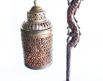 Early Century Carved Wood Chinese Dragon Table Lamp Pierced Brass Lantern ~ Antique Asian Decor Accent Lamp ~ Vintage Lighting