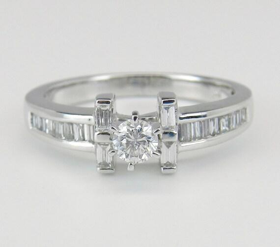 Diamond Engagement Ring 14K White Gold Round Brilliant Size 7.25