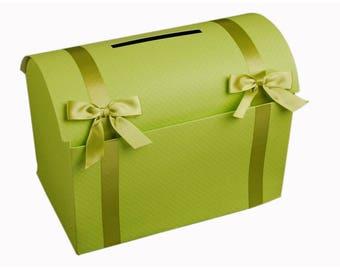 malle urne de mariage en carton L 35 x H 25 x l 22 cm vert anis