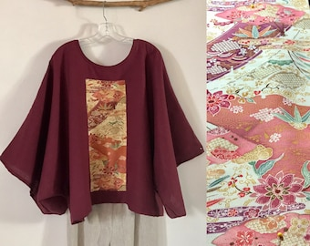Reserved for D only / Burgundy linen top with vintage kimono panel /  ready to wear top / oversized / over size top / linen kimono /