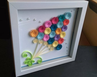 Flower Quilled Wall Art   Handmade Artwork   Paper Wall Art   Home Decor    Wall