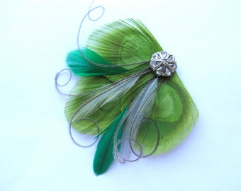 CICILY Lime Green, Emerald Green, and Gray Peacock Feather Hair Clip, Feather Fascinator