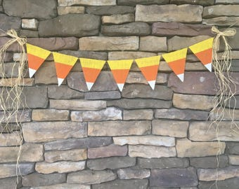 Candy corn burlap banner, candy corn banner, candy corn decor, Halloween decor, Halloween burlap banner, Halloween garland, burlap banner