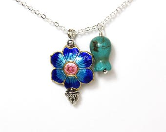 Turquoise pomegranate blue flower silver charm necklace