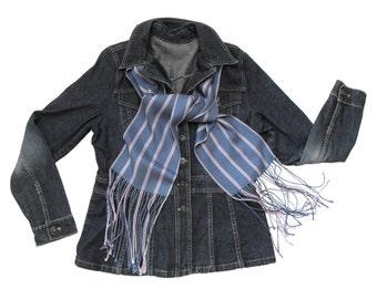 Blueberry Scarf Handwoven, Variegated Sugar Cane Stripes w Chevrons Scarf Herringbone, Steel Blue Scarf Ladies, Hand Woven Scarf Tencel