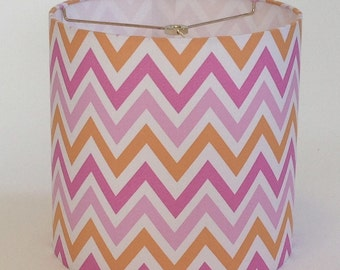 "SALE! Small Drum Lamp Shade in a Pink and Orange Chevron Fabric - 10"" X 10"" - Ready To Ship!"