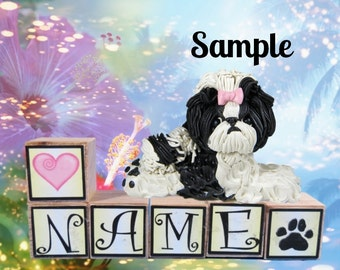 black and white Shih Tzu dog with pink bow PERSONALIZED with your dog's name on blocks by Sally's Bits of Clay