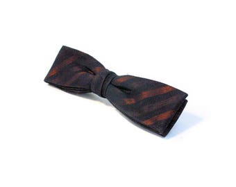 50s Black & Copper Clip Bow Tie, Silk Clip-on Bow Tie, 1950s Bow Tie, Striped Bowtie, Vintage Bowtie