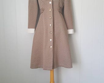70s Taupe and White Striped Coat Dress with Collar