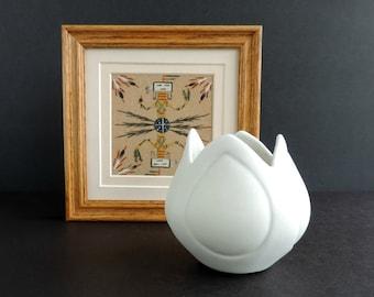Vintage Van Briggle Art Pottery Tulip Vase | Matte White, Light Gray | Colorado Springs | Mid-Century Home Decor