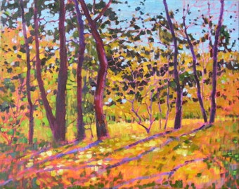 Sunny place, original oil painting on canvas,   16 x 20 in