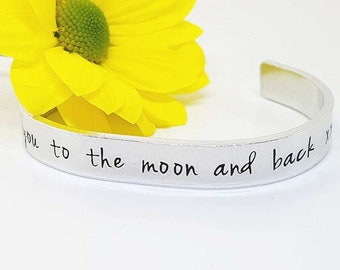 Love You to the Moon and Back Cuff Bracelet, Hand Stamped Jewellery, Hand Stamped Cuff Bracelet, Gift for Her, Gift for Mum, Mother's Day