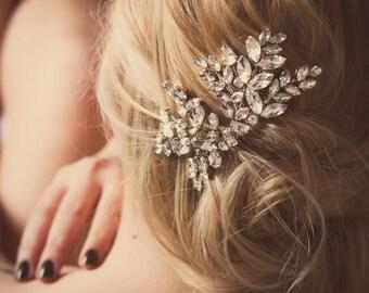 Medida alta costura cristal boda accesorios para el cabello, tocado de novia, tocado de Novia de invierno, cristal cabello peine, peine de diamantes de imitación de Nanna #173