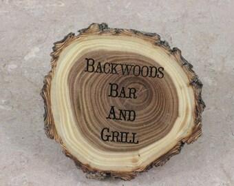 Personalized Wooden 4 Piece Coaster Set, Wood Coaster Set, Old West Log Coaster Set