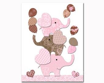 Nursery art elephant baby girl room wall decor pink brown baby shower decorations gift kids artwork children poster playroom print toddler