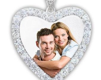 Sterling Silver & CZ Premium Heart Photo Pendant