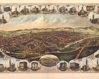 York, White Rose City, Pennsylvania PA 1879 from Kern, A. Hoen & Co.   Reproduction Vintage Bird's Eye View Map Print PA0054
