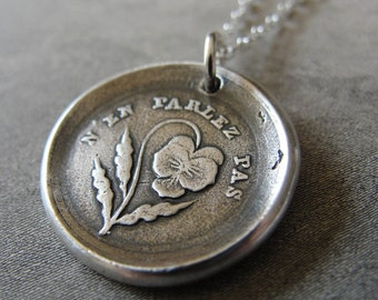 Do Not Tell - Wax Seal Necklace - Forbidden Love antique wax seal charm jewelry with pansy by RQP Studio