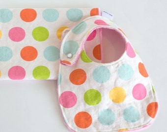 Baby Girl Gift Set Bib and Burp Cloth Large Dot Multi