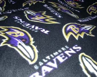 "Baltimore Ravens Toss Fleece Blanket - Finished Sewn Edges - 2 layers of fleece - 70"" x 59"""