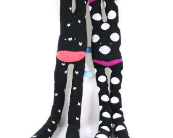 SALE* Cuddle Monster BOOTS - black and white, watermelon, grapefruit, pink, stars handmade plush sock toy softie.