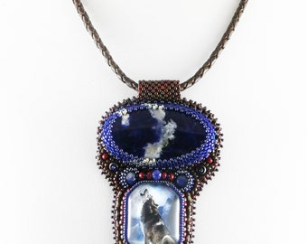 Wolf bead embroidered pendant necklace.