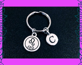 Leo zodiac keyring, Leo key chain, gift for Leo horoscope, July August birthday gift idea, personalised zodiac horoscope charm keyring