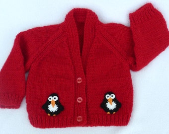 Knit baby sweater, hand knitted baby clothes. Red baby cardigan to fit 0 to 3 months. baby girl clothes, baby boy clothes, baby shower gift