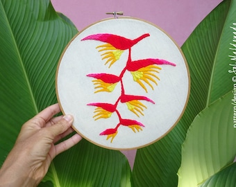 Hand Embroidery Pattern - Heliconia Embroidery Hoop - Tropical flowers Wild Jungle - INSTANT download PDF